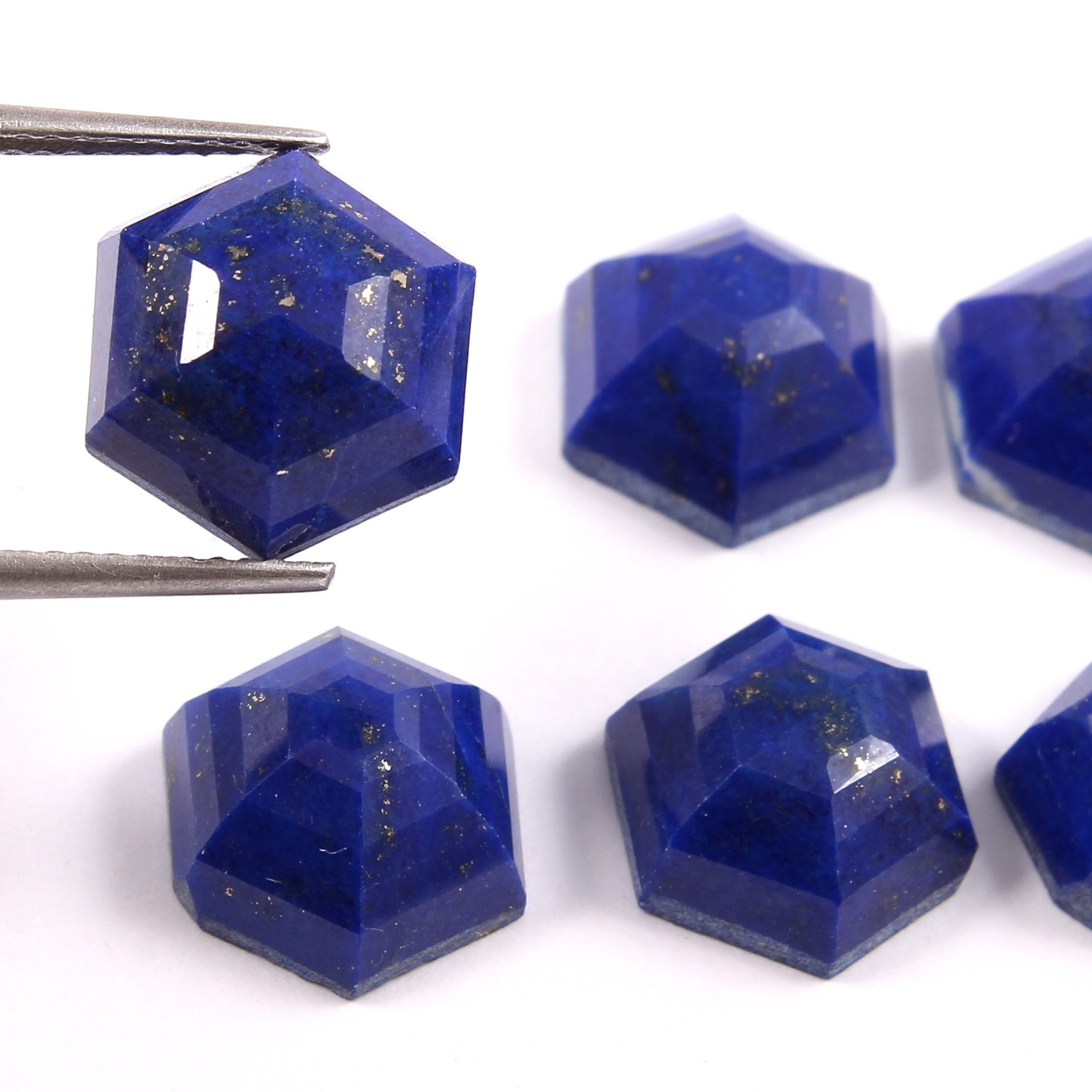 Details about  /Natural Amethyst Gemstone Hexagon Shape Faceted Cabochons Three Pieces Set